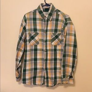 Other - Green & Yellow flannel button down shirt